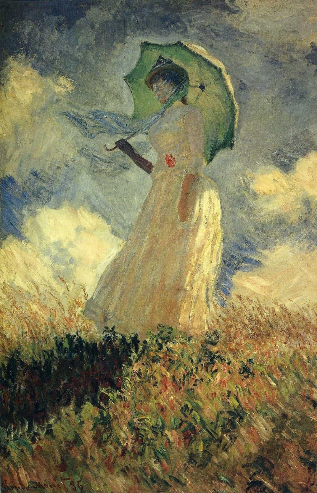 Дама с зонтиком, повернувшаяся налево